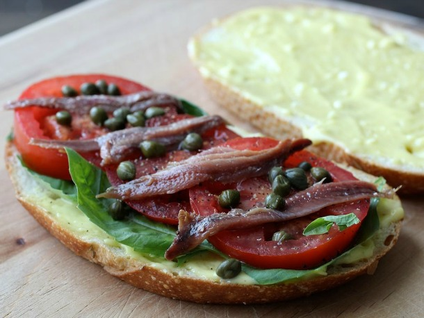 Anchovy, Basil, and Tomato Sandwiches With Aioli Recipe