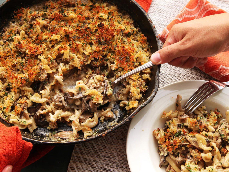 Crispy Baked Pasta With Mushrooms, Sausage, and Parmesan Cream Sauce Recipe