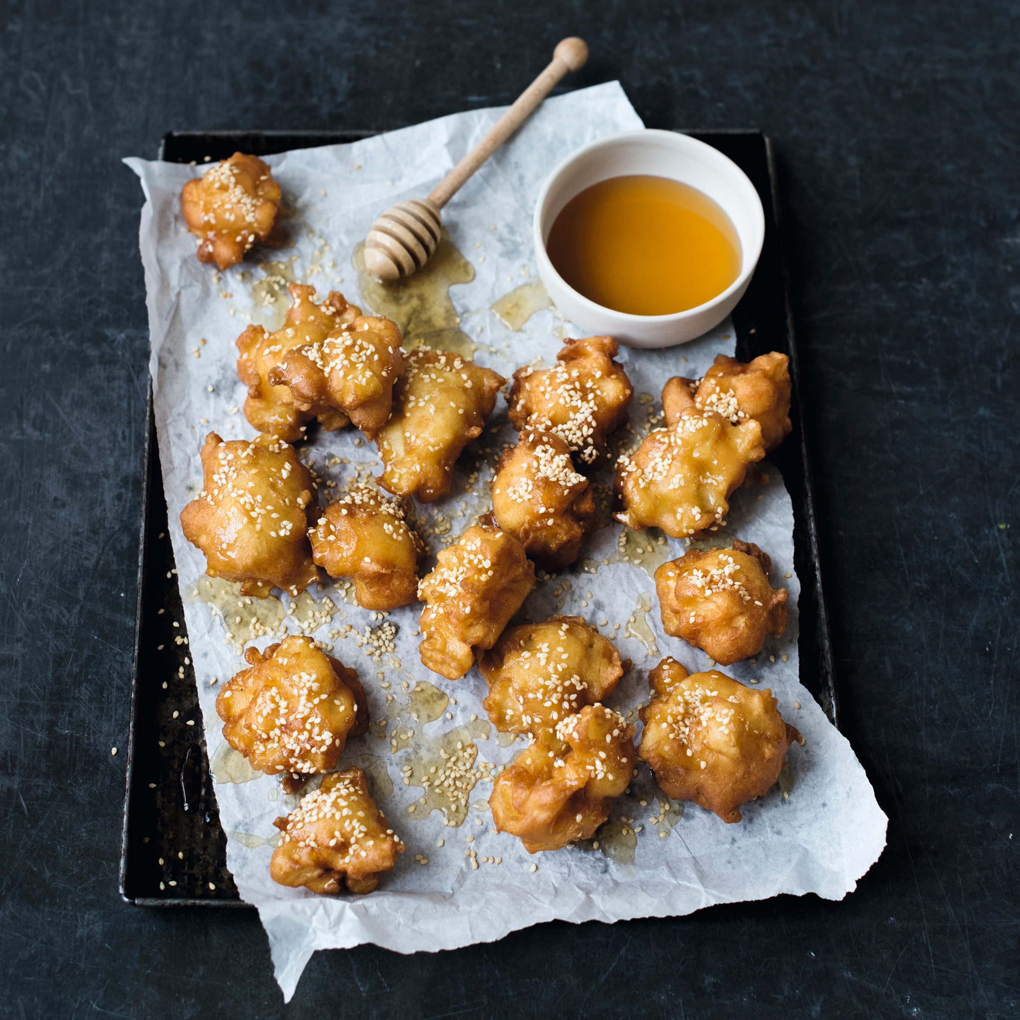 Martha's apple fritters with honey & sesame