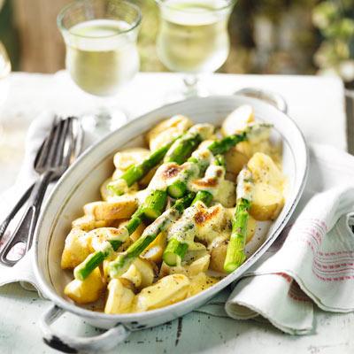 Asparagus and Jersey Royal gratin