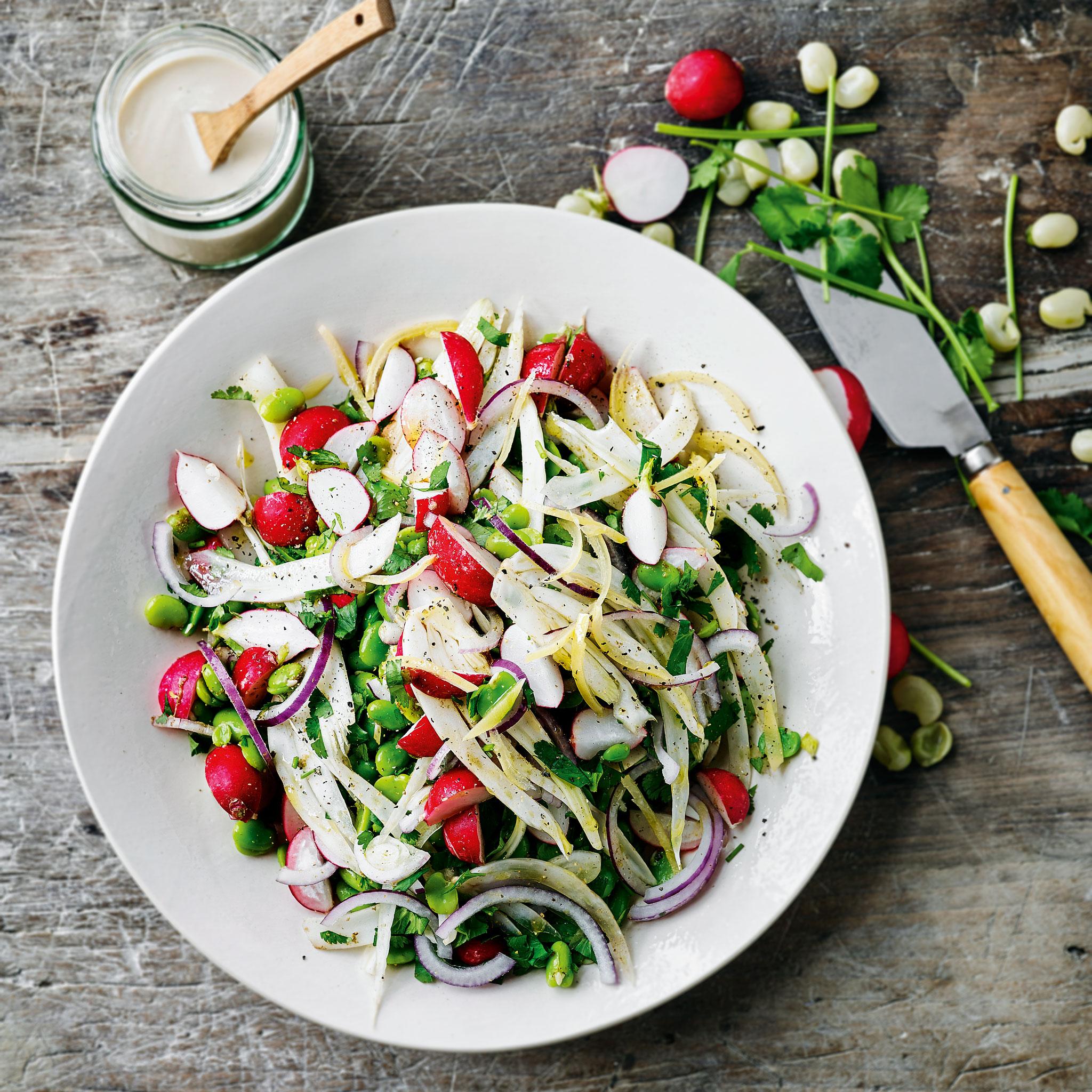 Broad bean, fennel & radish salad with lemon & tahini dressing