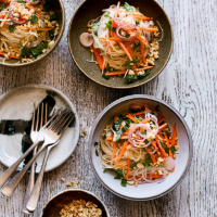 Asian carrot, noodle and peanut salad
