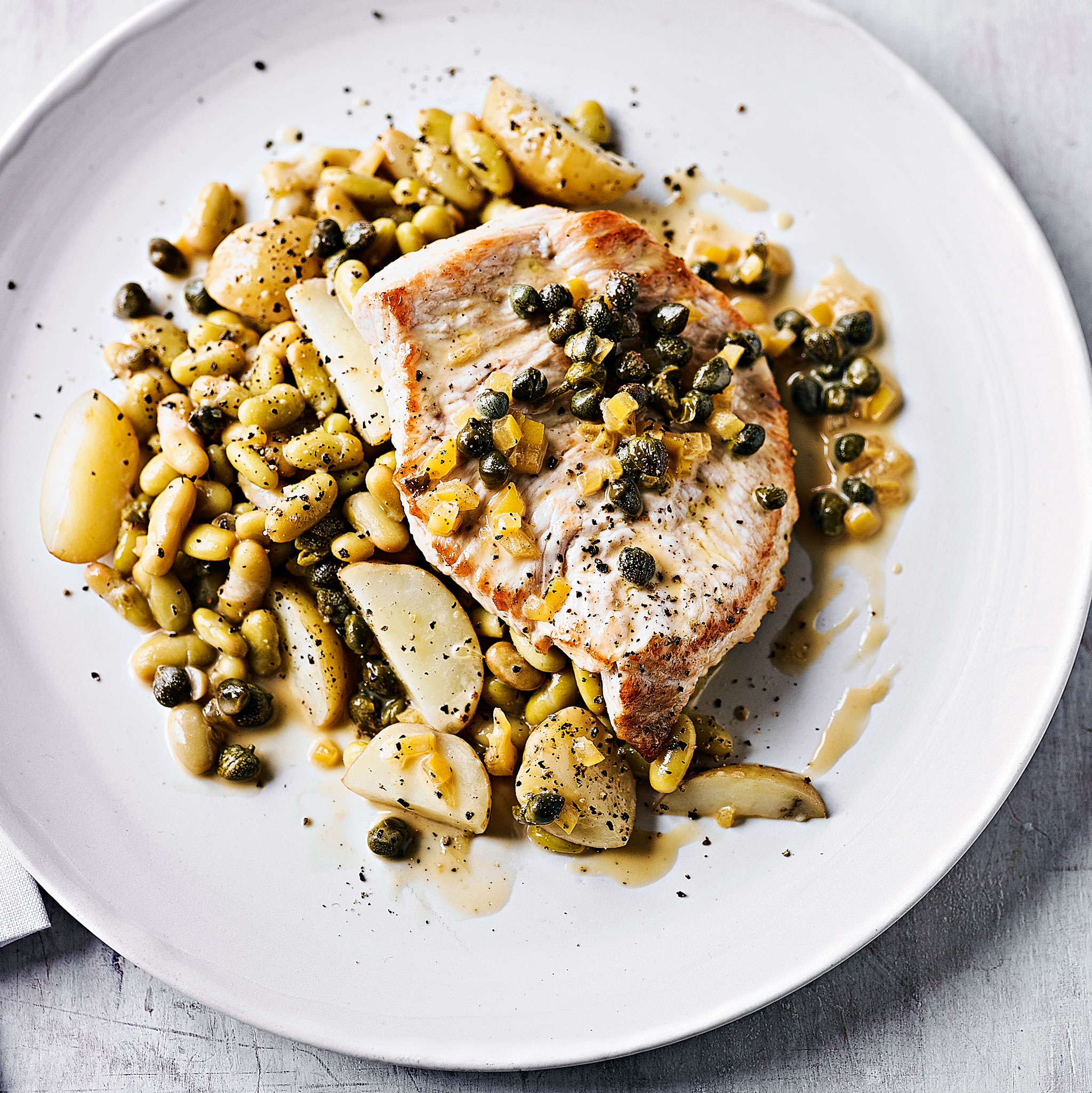 Turkey with flageolet beans, preserved lemon & capers