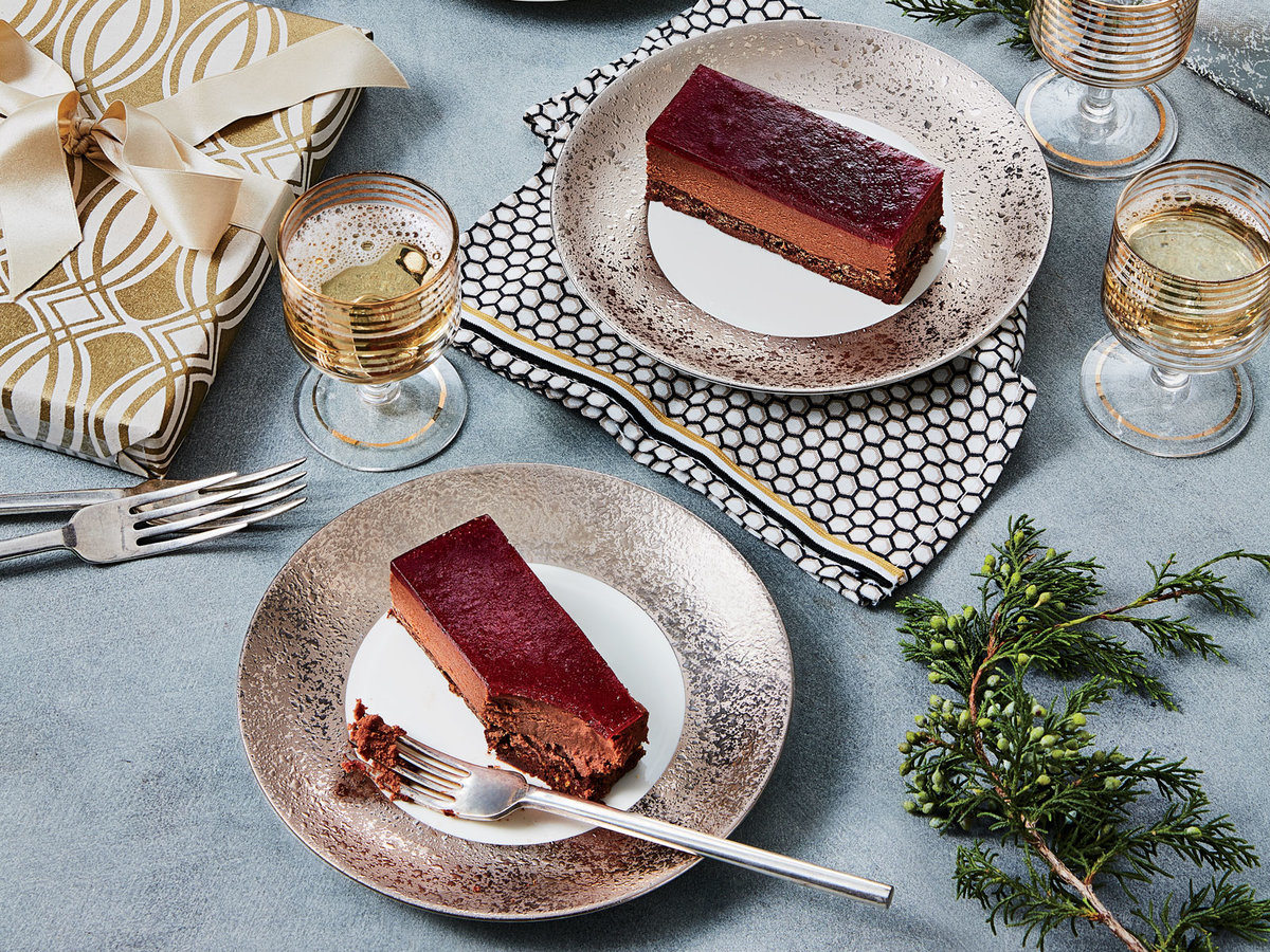 Black Forest Mousse Cake with Cherry-Chile-Pomegranate Glaze
