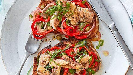 Sardines & peperonata on wholemeal toast