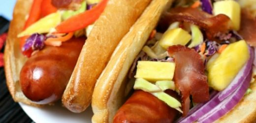 Hot Dogs with Pineapple Bacon Chipotle Slaw Recipe