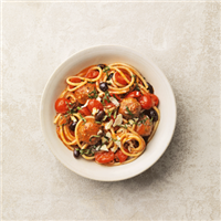 Veggie balls in tomato sauce with bucatini
