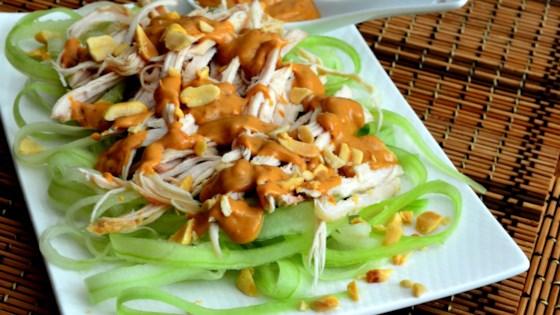 Cucumber Chicken Salad with Spicy Peanut Dressing Recipe