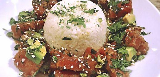 Tuna poke with coconut rice and Bibb lettuce