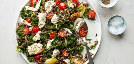Massaged Kale with Tomatoes, Creamed Mozzarella, and Wild Rice