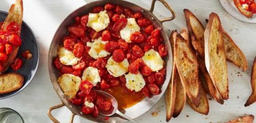 Baked Tomatoes, Peppers, and Goat Cheese with Crisped Toasts