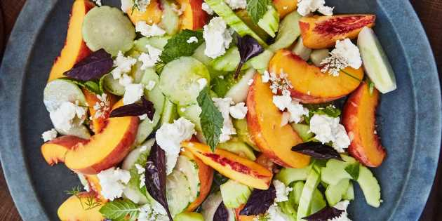 Cucumber and Peach Salad with Herbs