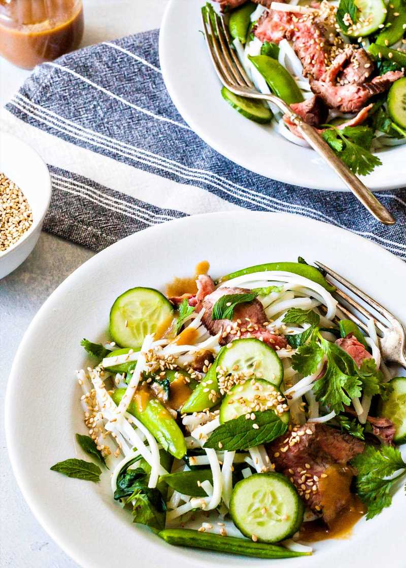 Steak Noodle Bowls with Miso-Lime Dressing