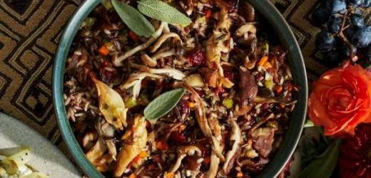 Wild Rice with Mushrooms, Cranberries, and Chestnuts