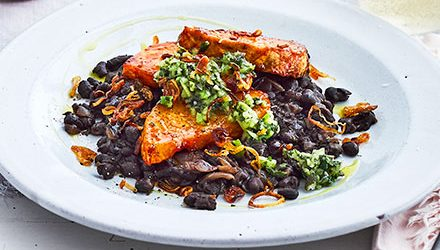 Gochujang-glazed celeriac with black beans & green salsa