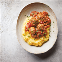 Vegan meatballs with creamy corn polenta