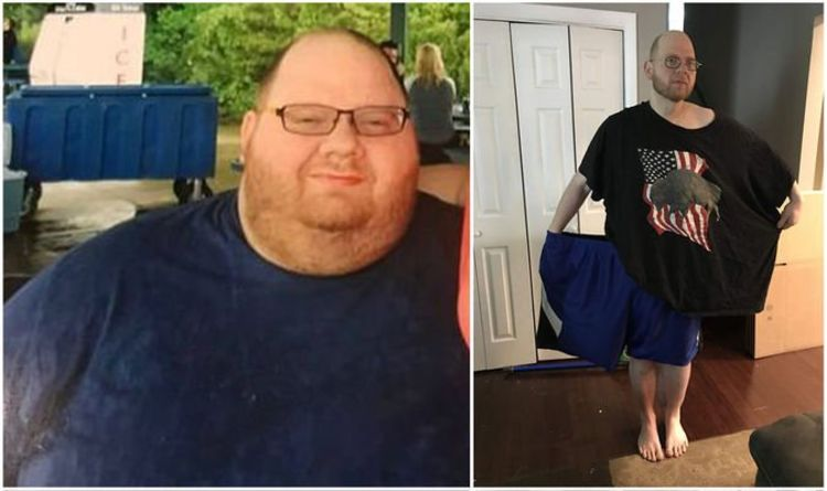 Man looks unrecognisable after overhauling diet and slimming down by over 14 stone