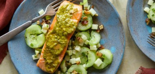 Pesto-Rubbed Baked Salmon with Smashed Cucumber and Green Apple Salad