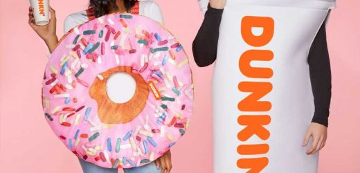 Dunkin Has A Halloween Costume Collection With Hot Coffee Cups And Strawberry Frosted Donuts