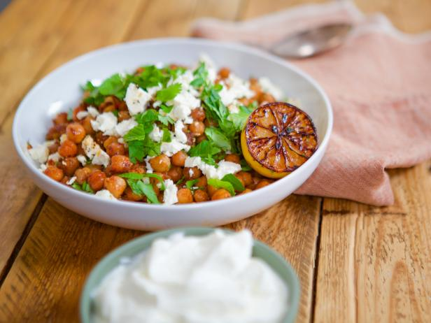 Harissa-Braised Chickpeas with Feta