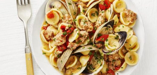 Orecchiette with Clams, Sausage and Peppers