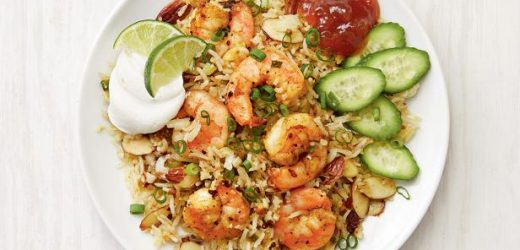 Cauliflower Fried Rice with Curried Shrimp