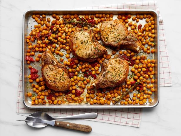 Rosemary-Garlic Pork Chops with Chickpeas